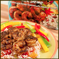 Jammin' Jerk Shrimp Over Mango Salsa and Rice